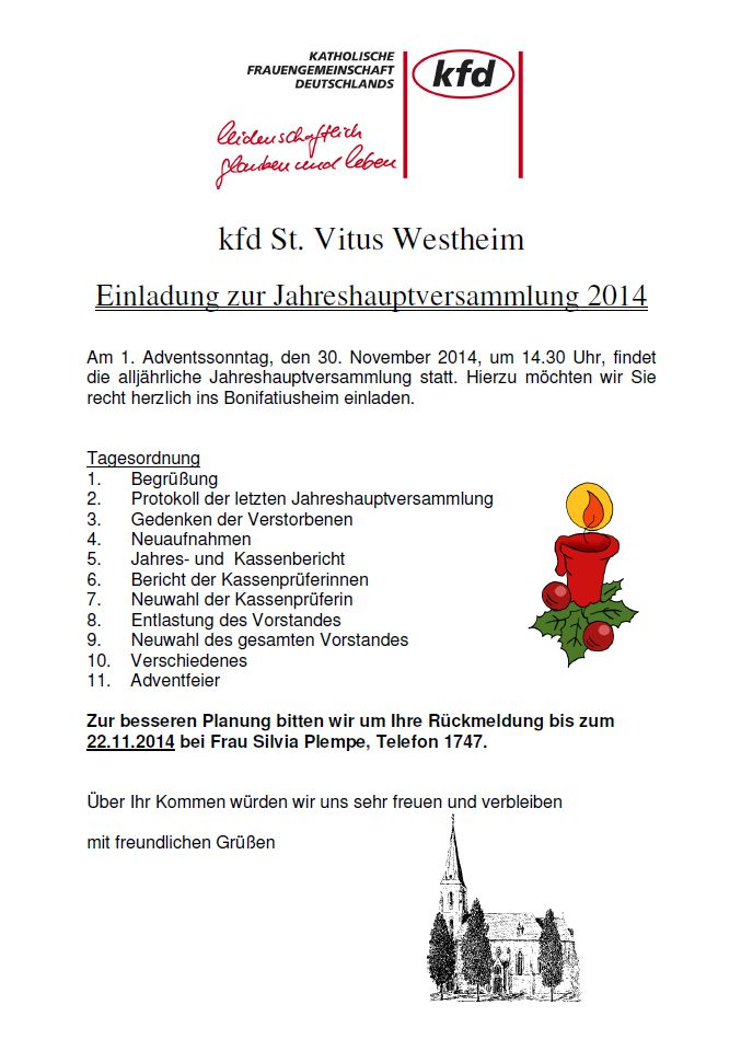 kfd st. vitus westheim - einladung zur jahreshauptversammlung 2014, Einladung