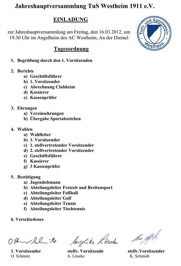 mitgliederversammlung tus westheim 16.3.2012, Einladung